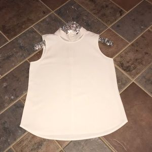 NWOT SP Ann Taylor ivory sleeveless choker top